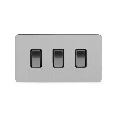 Soho Lighting Brushed Chrome Flat Plate 10A 3 Gang Switch on Double Plate 2 Way Blk Ins Screwless