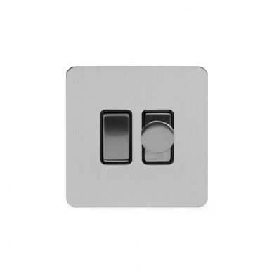 Soho Lighting Brushed Chrome Flat Plate Dimmer and Rocker Switch Combo