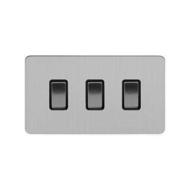 Soho Lighting Brushed Chrome Flat Plate 3 Gang Switch With 1 Intermediate (2 x 2 Way Swich with 1 Intermediate) Bk Ins Screwless