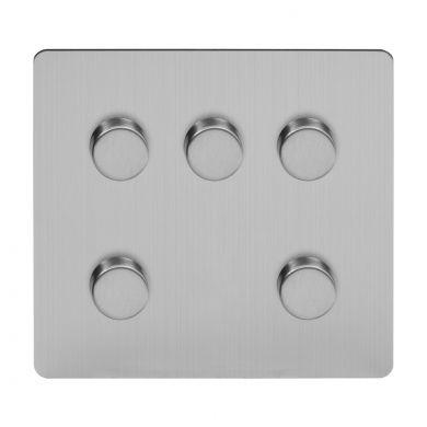 Soho Lighting Brushed Chrome Flat Plate 5 Gang Dimmer Switch 150W LED Trailing Edge Dimmer Screwless
