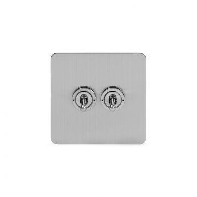Soho Lighting Brushed Chrome Flat Plate 20A 2 Gang 2 Way Toggle Switch Screwless