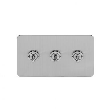 Soho Lighting Brushed Chrome Flat Plate 20A 3 Gang 2 Way Toggle Switch Screwless