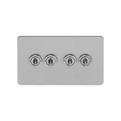 Soho Lighting Brushed Chrome Flat Plate 20A 4 Gang 2 Way Toggle Switch Screwless