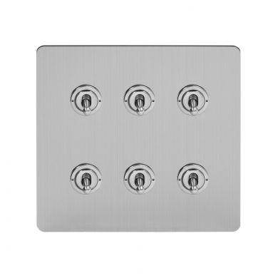 Soho Lighting Brushed Chrome Flat Plate 6 Gang Toggle Light Switch 20A 2 Way Screwless