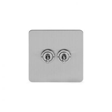 Soho Lighting Brushed Chrome Flat Plate 2 Gang Retractive Toggle Switch Screwless