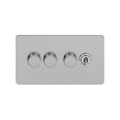 Soho Lighting Brushed Chrome Flat Plate 4 Gang Switch with 3 Dimmers (3x150W LED Dimmer 1x20A 2 Way Toggle)