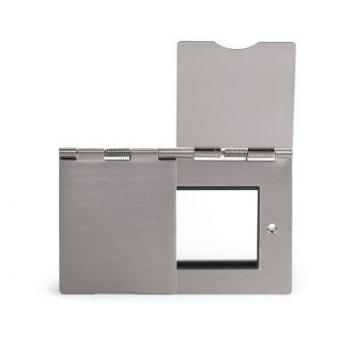 Soho Lighting Brushed Chrome Flat Plate 4 Gang Euro Floor Plate Blk Ins Screwless
