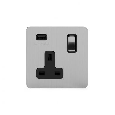 Soho Lighting Brushed Chrome Flat Plate 13A 1 Gang DP USB Switched Socket (USB Output 2.1amp) Blk Ins Screwless