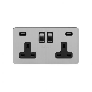 Soho Lighting Brushed Chrome Flat Plate 13A 2 Gang DP USB Switched Socket (USB Output 4.8amp) Blk Ins Screwless