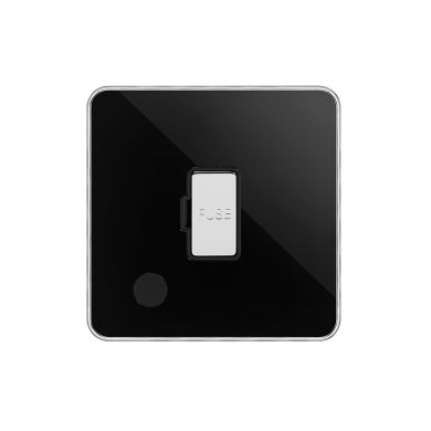 Soho Fusion Black Nickel & Polished Chrome With Chrome Edge 13A Unswitched Flex Outlet Black Insert Screwless