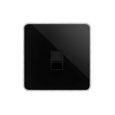 Soho Lighting Black Nickel Plate with Chrome Edge 1 Gang Data Socket RJ45 Cat5/Cat6 Blk Ins Screwless