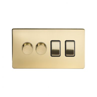 Soho Lighting Brushed Brass 4 Gang Switch with 2 Dimmers (2x150W LED Dimmer 2x20A Switch)