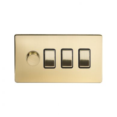 Soho Lighting Brushed Brass 4 Gang Switch with 1 Dimmer (1x150W LED Dimmer 3x20A Switch)