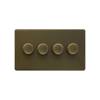 The Eton Collection Bronze 4 Gang 2 Way Trailing Dimmer Screwless 100W LED (250w Halogen/Incandescent)