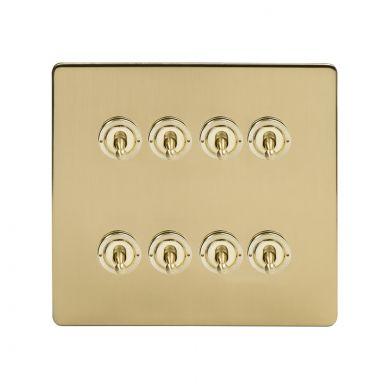 Soho Lighting Brushed Brass 8 Gang Toggle Light Switch 20A 2 Way Screwless