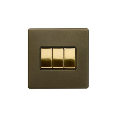 Soho Fusion Bronze & Brushed Brass 10A 3 Gang 2 Way Switch Black Inserts Screwless