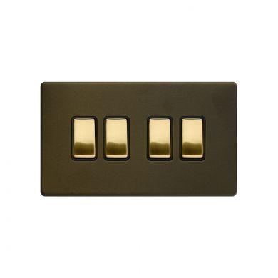 Soho Fusion Bronze & Brushed Brass 10A 4 Gang 2 Way Switch Black Inserts Screwless