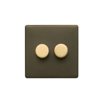 Soho Fusion Bronze & Brushed Brass 2 Gang 2 Way Trailing Dimmer Screwless 100W LED (250w Halogen/Incandescent)