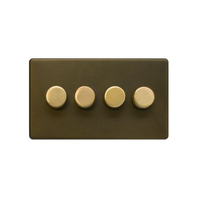 Soho Fusion Bronze & Brushed Brass 4 Gang 2 Way Trailing Dimmer Screwless 100W LED (250w Halogen/Incandescent)