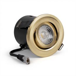 Brushed Brass Tiltable Adjustable 2.8k Fire Rated LED 6W IP44 Dimmable Downlight