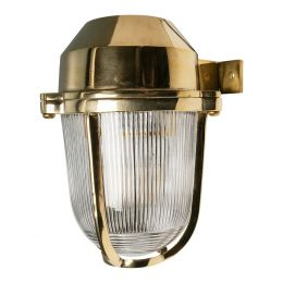 Hopkin Polished Solid Brass IP66 Prismatic Glass Outdoor & Bathroom Wall Light