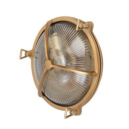 Carlisle Lacquered Brass IP66 Half Cover Prismatic Glass Wall Light - The Outdoor & Bathroom Collection