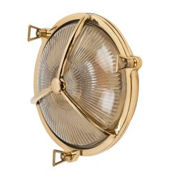 Carlisle Polished Brass IP66 Half Cover Prismatic Glass Wall Light - The Outdoor & Bathroom Collection