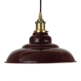 Burgundy Red St Edmund's Painted Pendant Light with Antique Brass Lamp Holder and Black Twisted Cable