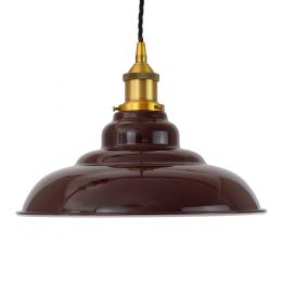 Burgundy Red St Edmund's Painted Pendant Light with Gold Lamp Holder and Black Twisted Cable