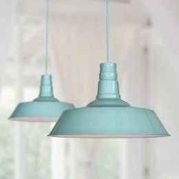 Large Argyll Industrial Pendant Light Duck Egg Blue