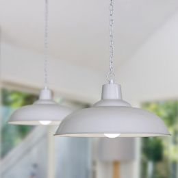 Portland Reclaimed Style Industrial Pendant Light Pale Grey