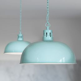 Berwick Rustic Dome Pendant Light Duck Egg Blue
