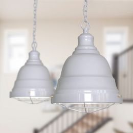 Ganton Vintage Cage Pendant Light Pale Grey