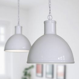 Wardour Industrial Bay Pendant Light Pale Grey