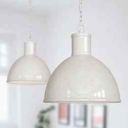 Wardour Industrial Bay Pendant Light Clay White
