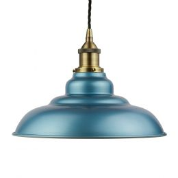 Racing Blue St Edmund's Painted Pendant Light with Antique Brass Lamp Holder and Black Twisted Cable