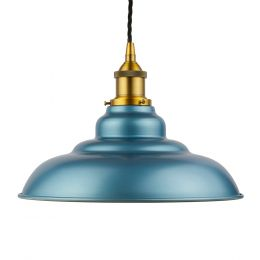 Racing Blue St Edmund's Painted Pendant Light with Antique Gold Lamp Holder and Black Twisted Cable