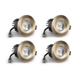 4 Pack - Antique Brass Fixed CCT Fire Rated LED Dimmable 10W IP65 Downlight