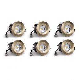 6 Pack - Antique Brass Fixed CCT Fire Rated LED Dimmable 10W IP65 Downlight