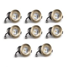 8 Pack - Antique Brass Fixed CCT Fire Rated LED Dimmable 10W IP65 Downlight