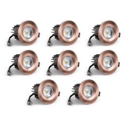 8 Pack - Antique Copper CCT Fire Rated LED Dimmable 10W IP65 Downlight
