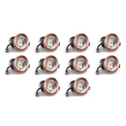 10 Pack - Antique Copper CCT Fire Rated LED Dimmable 10W IP65 Downlight