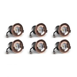 6 Pack - Rose Gold CCT Fire Rated LED Dimmable 10W IP65 Downlight