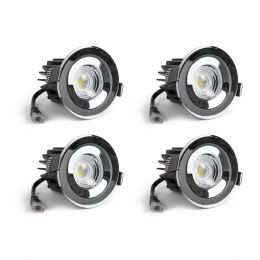 4 Pack - Polished Chrome CCT Fire Rated LED Dimmable 10W IP65 Downlight