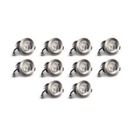 10 Pack - Brushed Chrome CCT Fire Rated LED Dimmable 10W IP65 Downlight