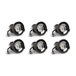 6 Pack - Black Nickel CCT Fire Rated LED Dimmable 10W IP65 Downlight