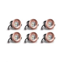 6 Pack - Brushed Copper CCT Fire Rated LED Dimmable 10W IP65 Downlight