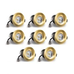 8 Pack - Brushed Gold CCT Fire Rated LED Dimmable 10W IP65 Downlight