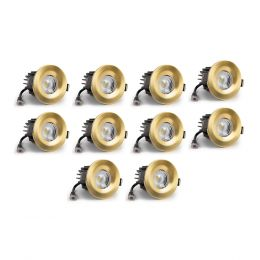 10 Pack - Brushed Gold CCT Fire Rated LED Dimmable 10W IP65 Downlight