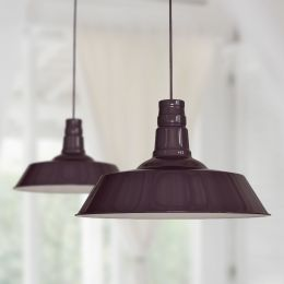 Large Argyll Industrial Pendant Light Mulberry Red